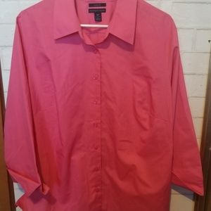 Westbound Woman Pink Linen Button-Down 3/4 Sleeve